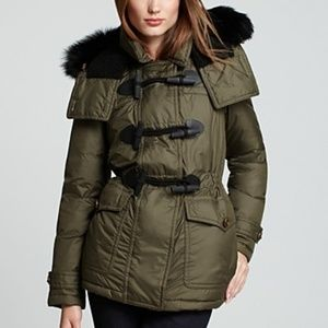 Burberry Worthington Down Toggle Coat Fox Fur Hood